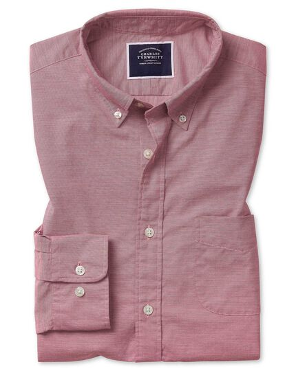 Extra slim fit soft washed stretch poplin red shirt