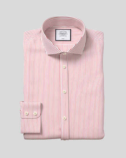 Spread Collar Non-Iron Dobby Stripe Shirt - Red