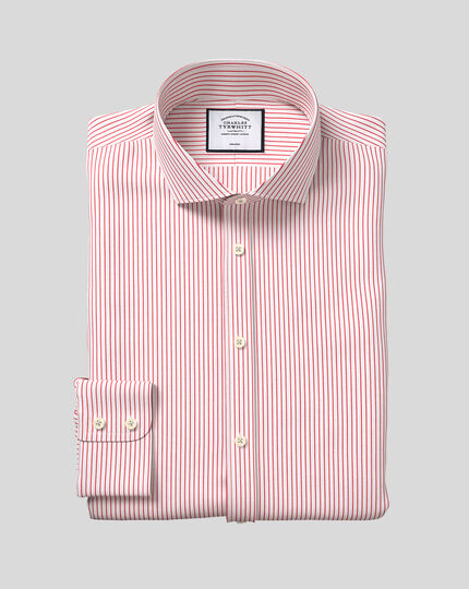 Cutaway Collar Non-Iron Dobby Stripe Shirt - Red