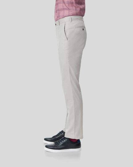 Fine Stripe Trousers - Light Grey