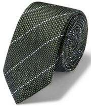 Olive and white textured stripe slim tie