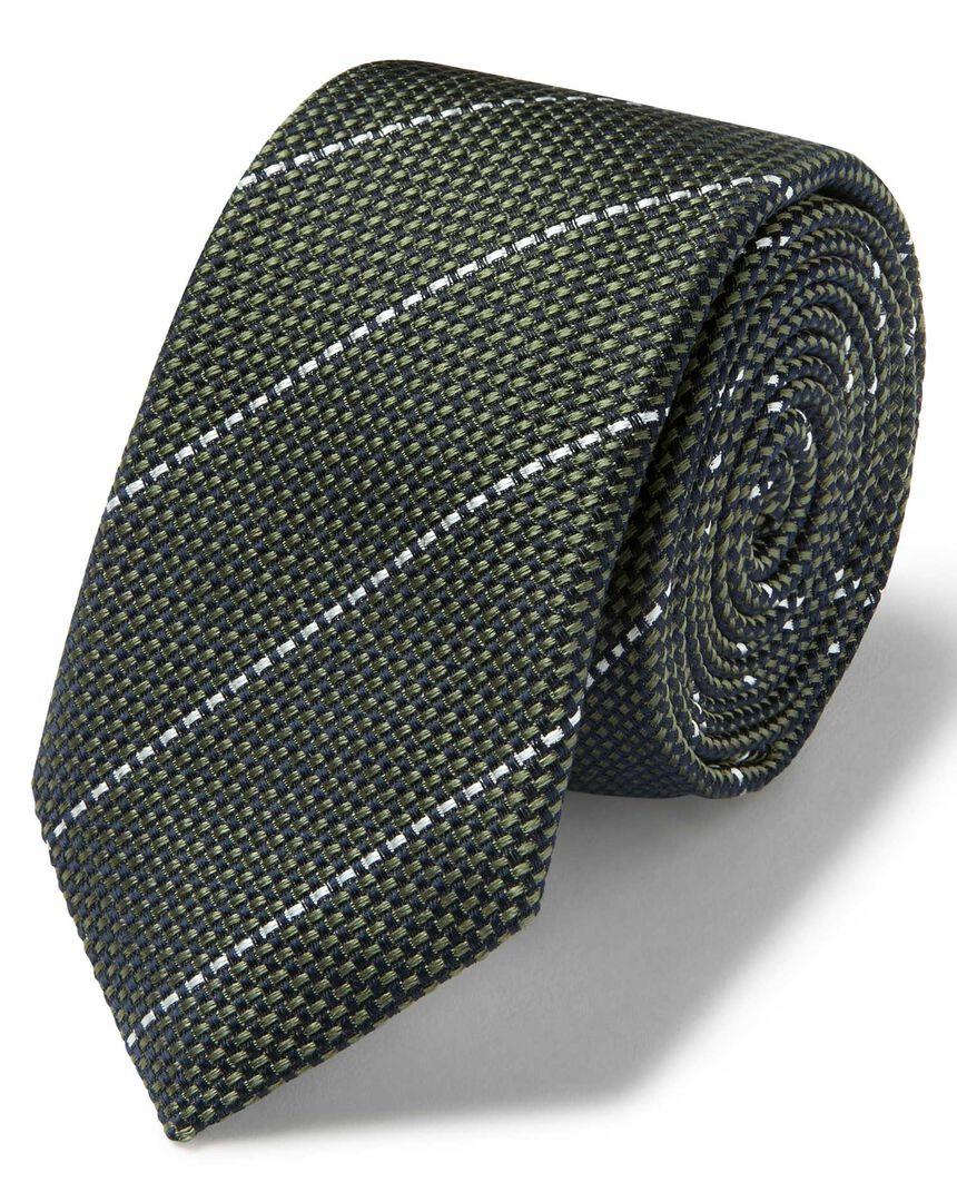 Olive and white textured stripe slim tie