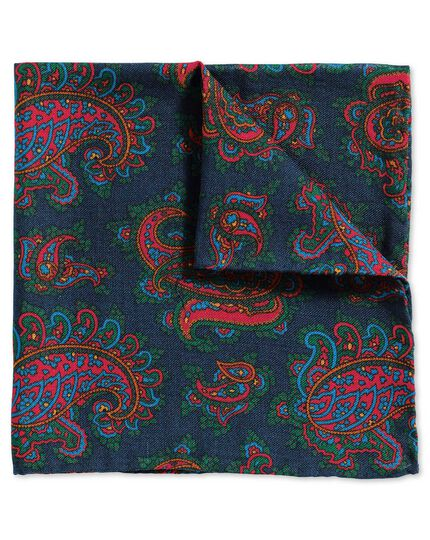 Navy and red luxury English printed paisley pocket square