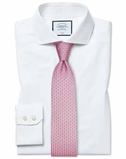 Slim fit non-iron 4-way stretch white shirt