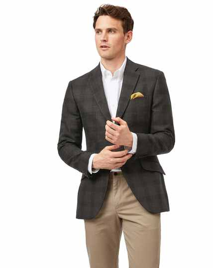 Slim fit green check British wool and cashmere jacket