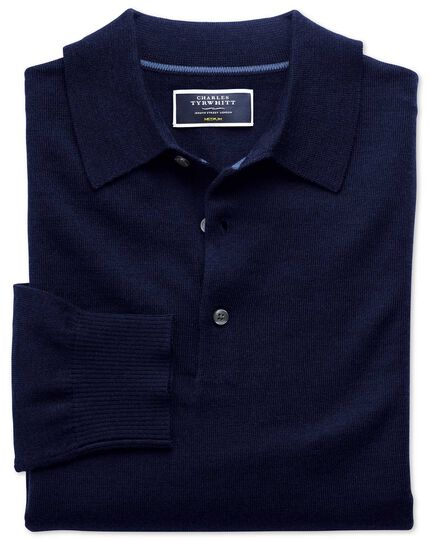 Pull bleu marine en laine mérinos avec col polo