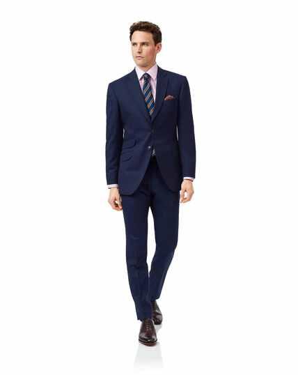 Costume de luxe en tissu britannique bleu slim fit