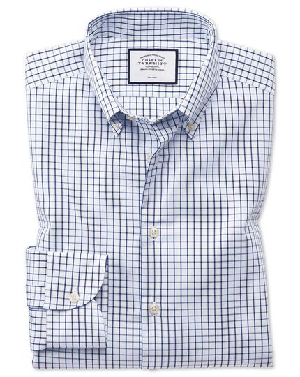 Classic fit business casual non-iron button-down navy check shirt