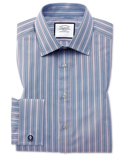 Extra slim fit red multi stripe Egyptian cotton shirt