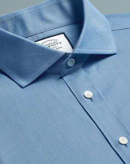 Slim fit non-iron cutaway  twill blue shirt
