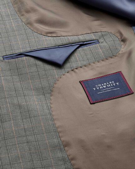 Veste de costume business grise en panama slim fit à carreaux Prince de Galles