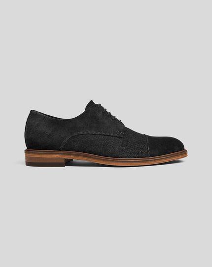 Suede Woven Derby Shoe  - Black