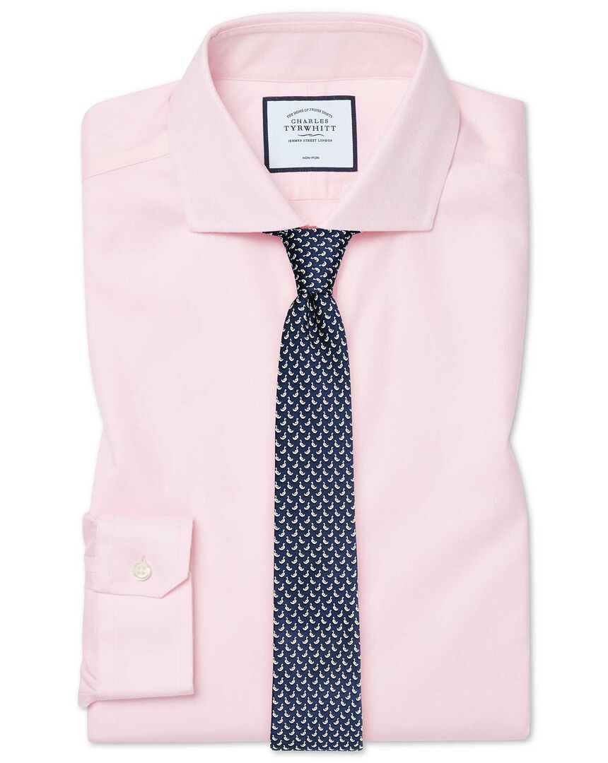 Super slim fit cutaway non-iron cotton stretch Oxford pink shirt