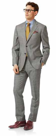 Business-Anzug Classic Fit Flanell Prince-of-Wales-Karos Grau