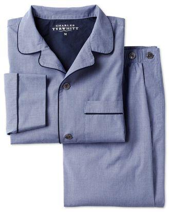 Schlafanzug mit Hahnentrittmuster in Blau