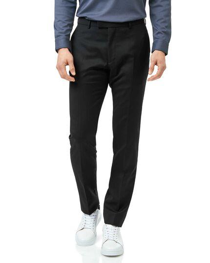 Black slim fit Italian natural stretch suit trouser