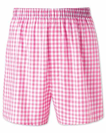 Boxershorts in Rosa mit Gingham Muster