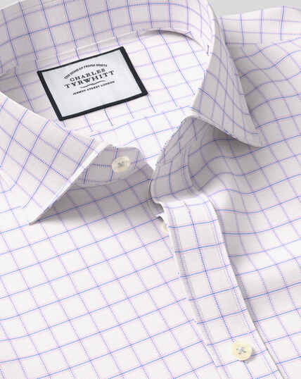 Cutaway Collar Cotton Stretch with TENCEL™ Check Shirt - Blue & Pink