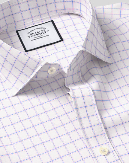 Spread Collar Cotton Stretch with TENCEL™ Check Shirt - Blue & Pink