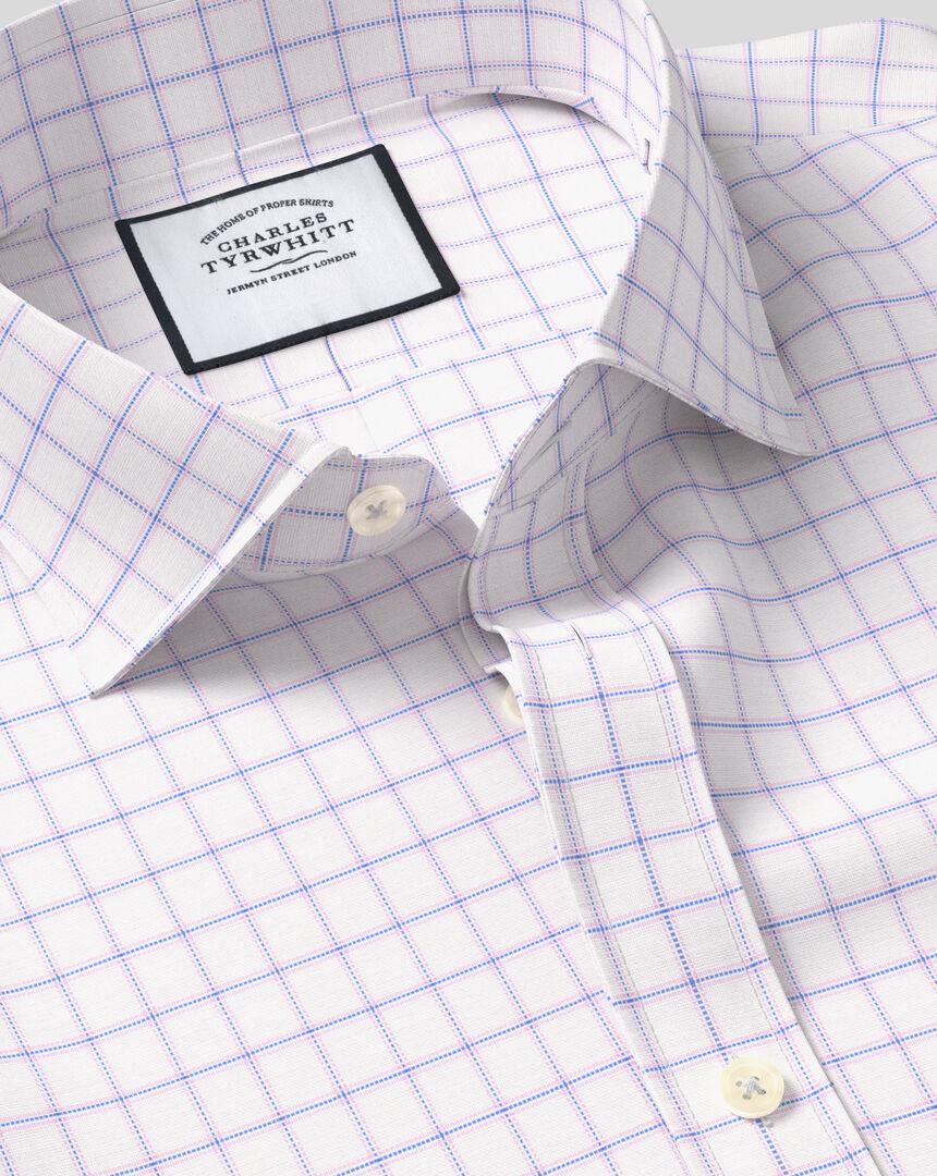 Cutaway Collar Cotton Stretch with TENCEL™ Check Shirt - Blue & Pink