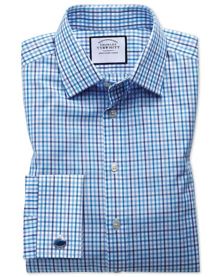 Slim fit poplin multi blue check shirt