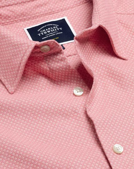 Brushed Cotton Linen Textured Shirt - Pink