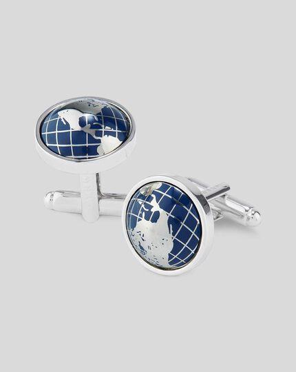 Enamel Half Globe Cufflinks