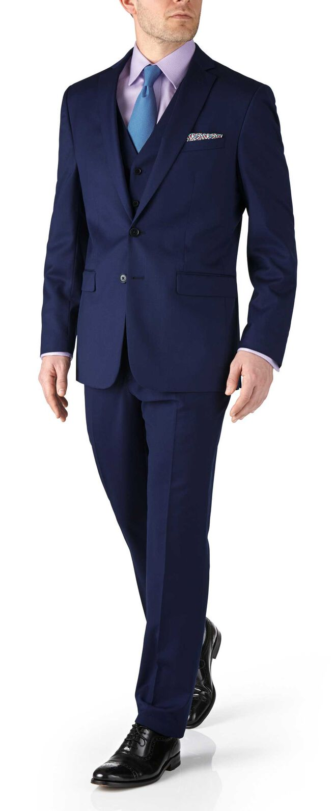 Royal blue slim fit twill business suit