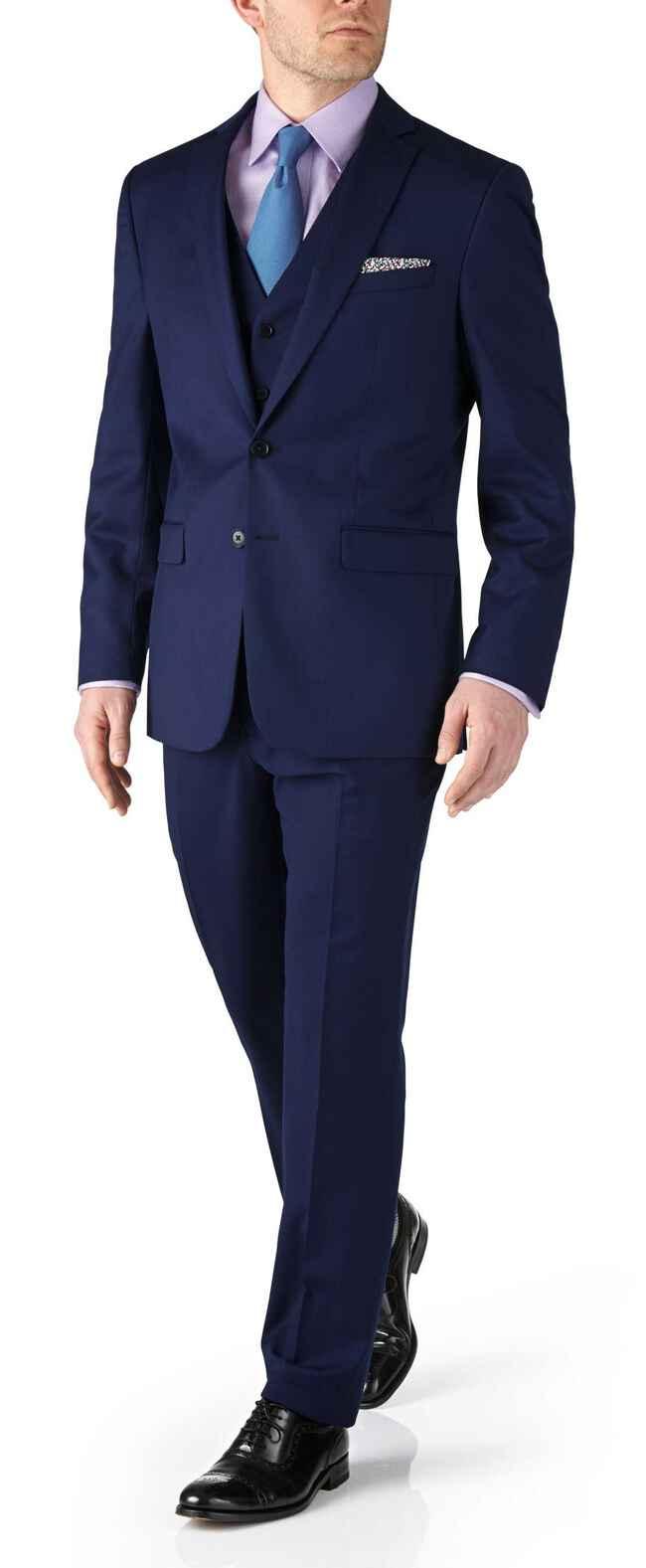 Costume business bleu roi en twill coupe droite