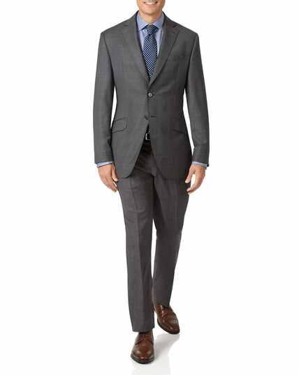 Italienisches Slim Fit Luxusanzug-Sakko mit Karos in Grau