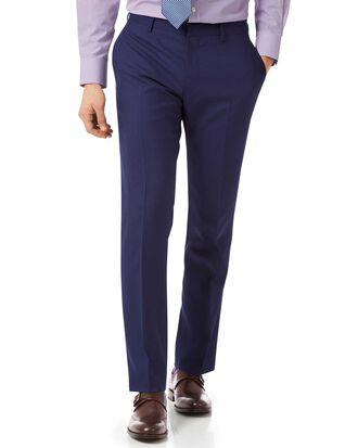Royal blue slim fit merino business suit pants