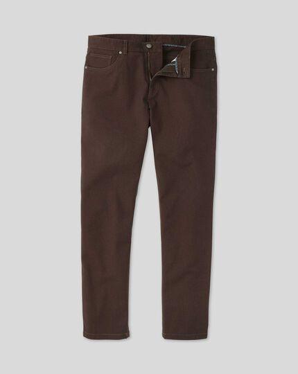 5-Pocket-Hose aus Dobby-Gewebe mit Diamantmuster - Schokoladenbraun