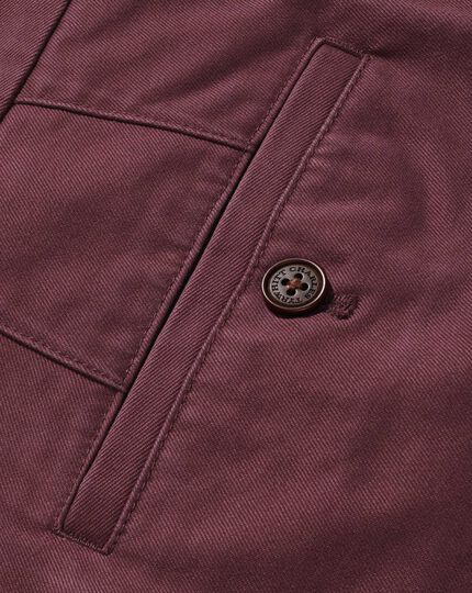 Dark pink slim fit flat front washed chinos