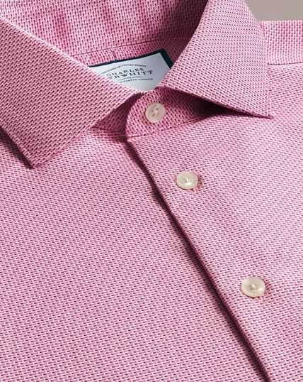 Bügelfreies Business-Casual-Hemd mit Semi-Haifischkragen aus modernem Strukturgewebe feinen Strichen - Rosa