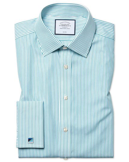 Classic fit non-iron stripe green shirt