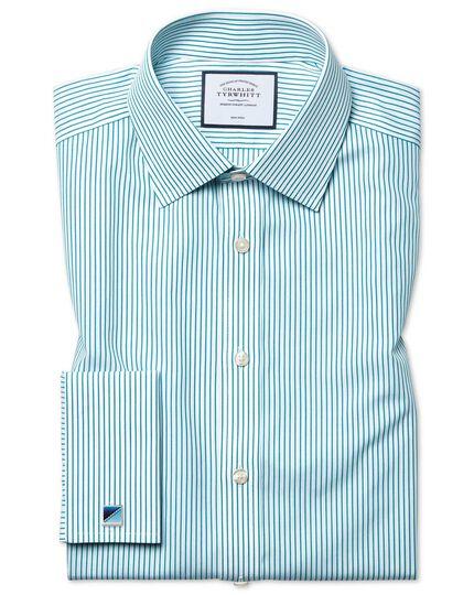 Bügelfreies Classic Fit Hemd mit Streifen in Grün