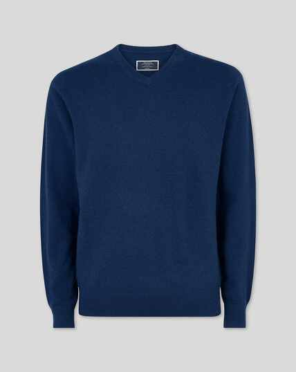 Cashmere V-neck Jumper - Navy