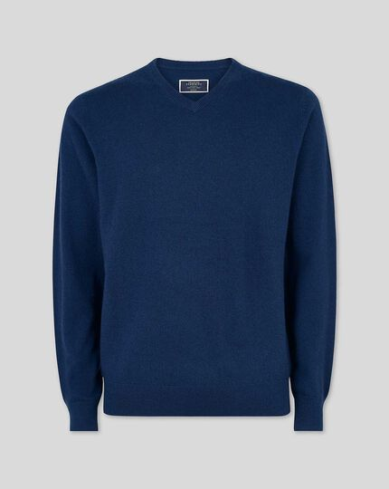 Cashmere V-neck Sweater - Navy