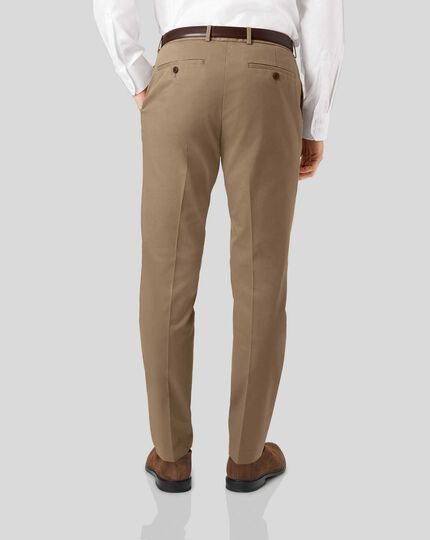 Smart Non-Iron Single Pleat Chinos - Fawn