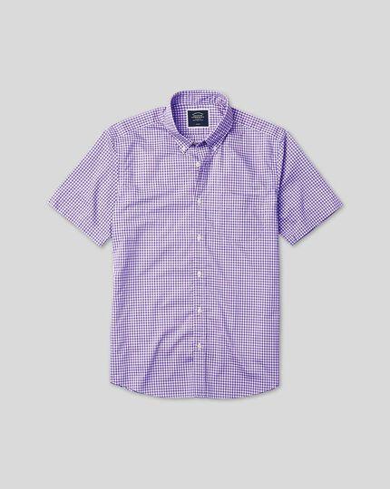 Chemise popeline stretch douce délavée à carreaux, col boutonné et manches courtes - Lilas
