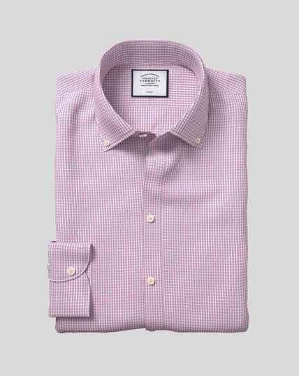 Button-Down Collar Non-Iron Check Shirt - Pink
