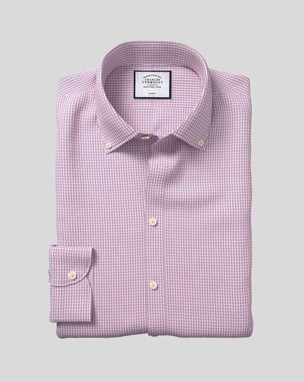 Button-Down Collar Non-Iron Check Shirt - Pink & White