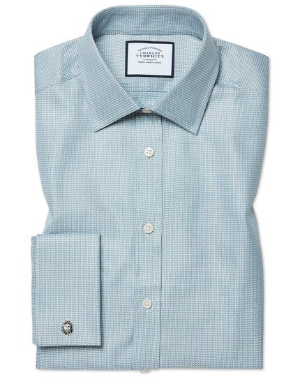 Extra slim fit Egyptian cotton chevron teal shirt