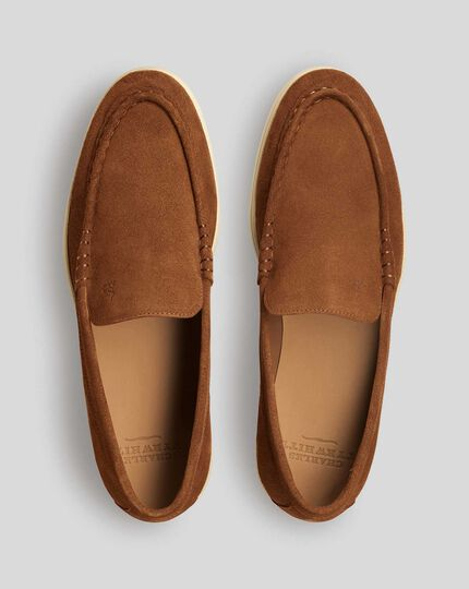 Suede Slip-On Shoes - Tan