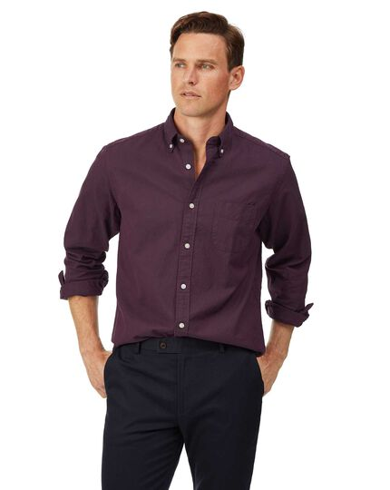 Classic fit berry button-down washed Oxford plain shirt
