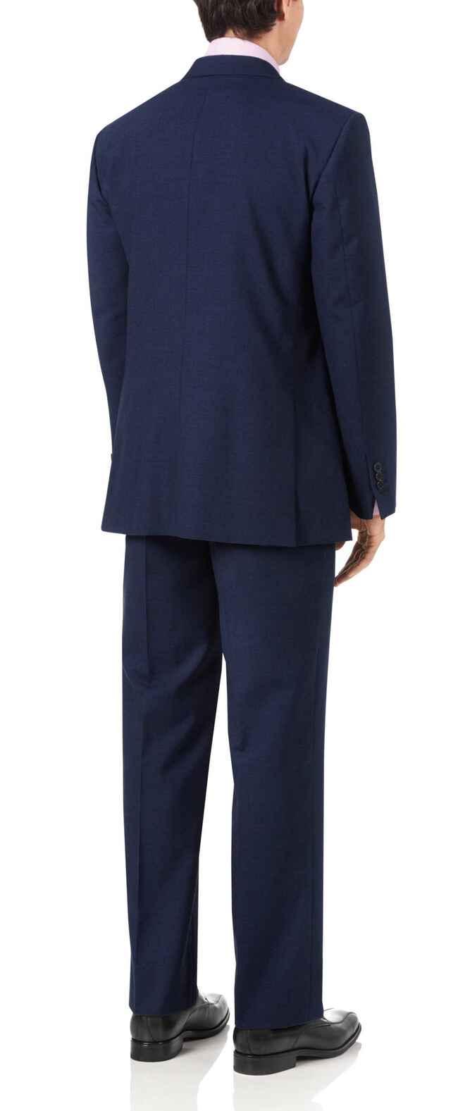 Costume business bleu indigo en Panama coupe droite à pied-de-poule