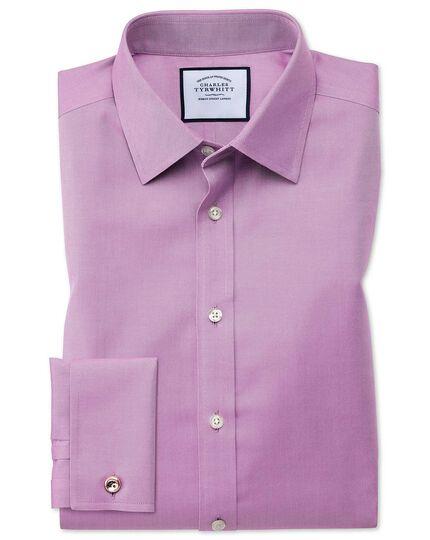 Chemise violette en twill coupe droite sans repassage