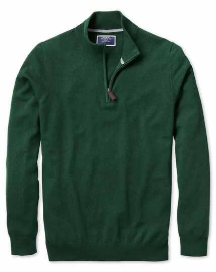 Green zip neck cashmere jumper