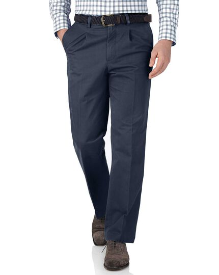 Airforce blue classic fit single pleat chinos