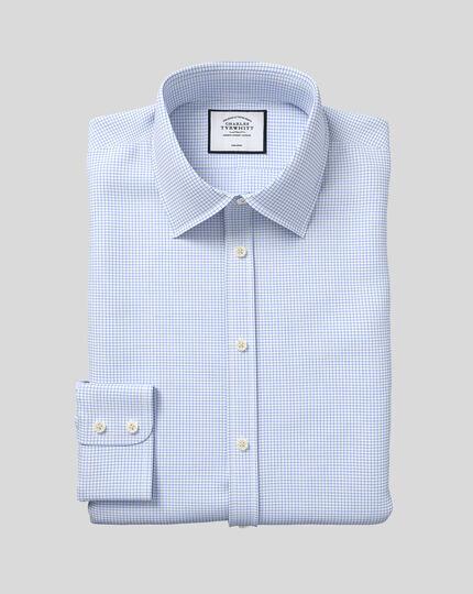 Classic Collar Non-Iron Twill Mini Grid Check Shirt - Sky